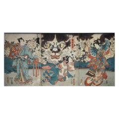 Ukiyo-e Triptych by Utagawa Kunisada