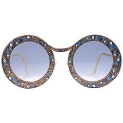"Ultra Rare Christian Dior ""  Gipsy "" Blue Enamel Oversized Sunglasses, 1969"