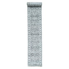 Undyed Natural Wool Hand Knotted Mamluk Design Extra Large Runner Rug