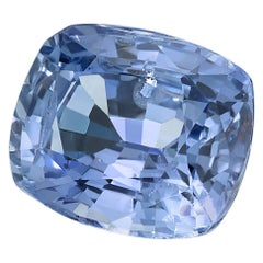 Unheated 3.42 Carat Cushion Violet-Blue Sapphire, GIA Certified