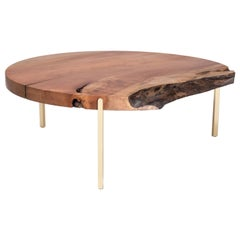 Union Coffee Table by Tretiak Works, Handcrafted Wood Brass Live Edge Unique