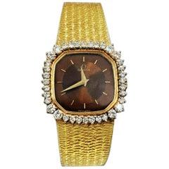 Omega 18 Karat Gold Diamond Set Double Tiger Eye Dial Bracelet Watch