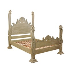Unique Carved and Painted Wood Queen Bed Frame from Brazil