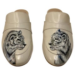 Unique Hand Painted White Tiger Mule Shoes with Swarovski Crystal Eyes Size 10