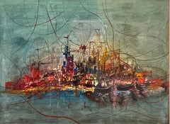Abstract Modernist Urban Skyline Landscape, New York City Harbor Lights