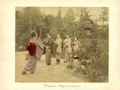 Performing Geishas in a Garden - Ancient Hand-Colored Albumen Print 1870/1890