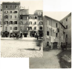Piazza Montanara - Disappeared Rome - Two Rare Vintage Photos Early 20th Century