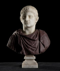 Marble Sculpture Bust Portrait Of Emperor Augustus Porphyry and Statuary Marble
