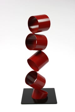 Multimedia Metal Sculpture of Six Red Rings in an Angled Stack