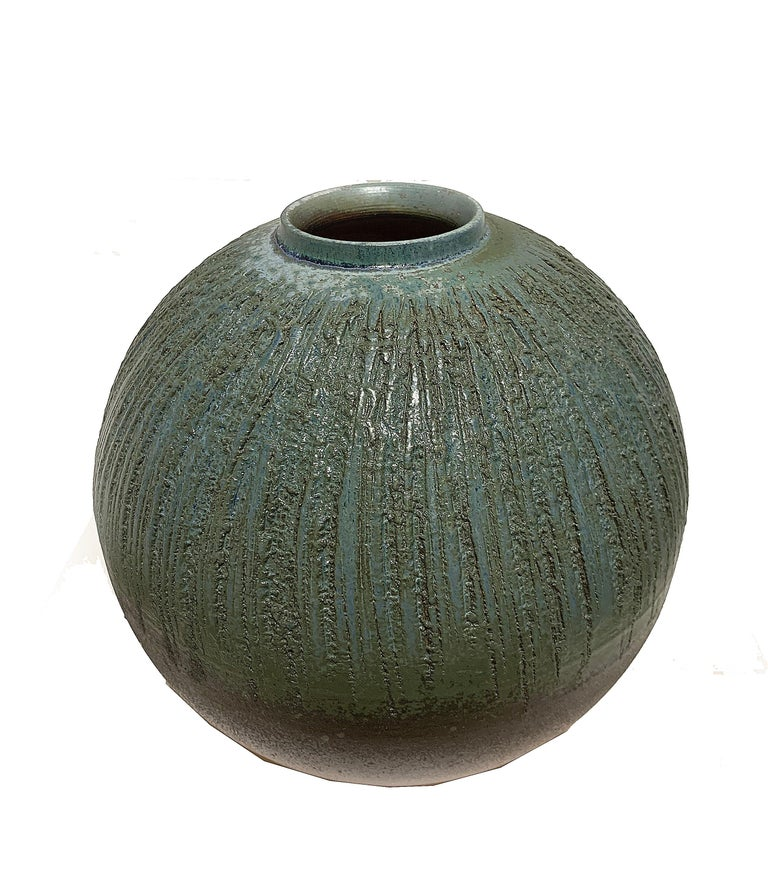 Teal and Brown Round Vase 2