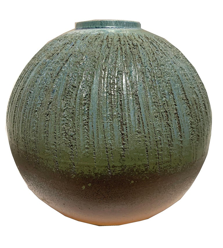 Teal and Brown Round Vase - Sculpture by Unknown