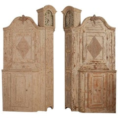 Unusual Pair of Gustavian Corner Clock Cabinets, Origin Mora, Sweden, Circa 1780