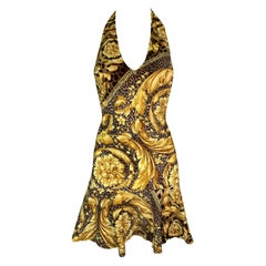 Unworn S/S 2000 Versace Gold Baroque Animal Print V-Neck Skater Mini Dress