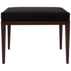 Upholstered Bench with Brown Horsehair Seat with Mahogany Frame and Tapered Legs