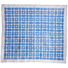 "USA Vintage Hand-Quilted ""Hole in the Barn"" Quilt in Blue and White"