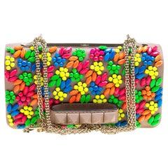 Valentino Beige Leather Jewel Embellished Va Va Voom Shoulder Bag