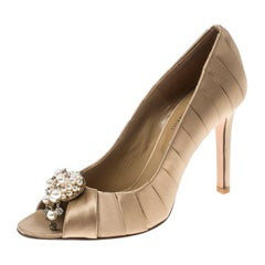 Valentino Beige Satin Pearl and Crystal Brooch Peep Toe Pump Size 36.5