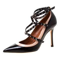 Valentino Black/Beige Leather Grommet Studded Pointed Toe Pumps Size 36.5
