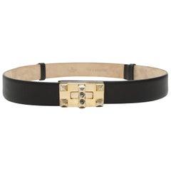 Valentino Black Leather Rockstud Belt