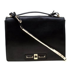 Valentino Black Leather Turnlock Metal Chain Shoulder Bag