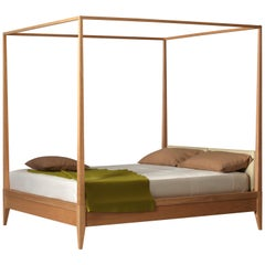 Valentino Canopy Bed Made of Cherrywood with Upholstered Headboard