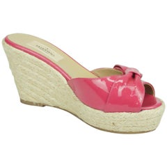 Valentino Hot Pink Patent Espadrille Wedges w/ Bow Detail - 36