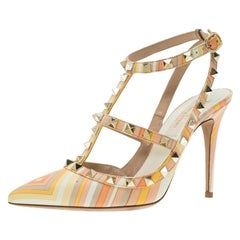 Valentino Native Couture 1975 Print Leather Rockstud Sandals Size 35.5