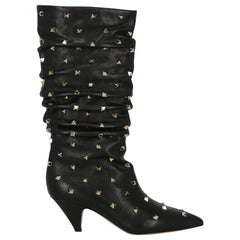 Valentino Women's Boots Black Leather Size 37