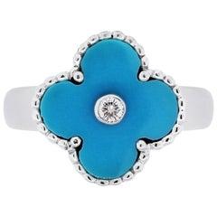Van Cleef & Arpels 18 Karat Gold 0.06 Carat Diamond and Turquoise Alhambra Ring