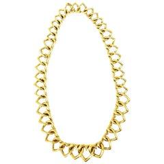 Van Cleef & Arpels 18 Karat Gold Heart Linked Necklace, circa 1980