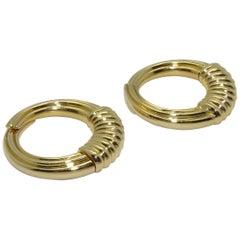 Van Cleef & Arpels 18 Karat Yellow Gold Hoop Earrings
