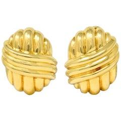 Van Cleef & Arpels 18 Karat Yellow Gold Ribbed Knot Ear-Clip Earrings