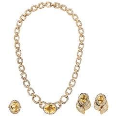Van Cleef & Arpels 18 Karat Yellow Gold, Diamond and Yellow Sapphire Suite