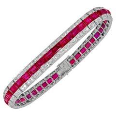 Van Cleef & Arpels Art Deco Diamond, Ruby Bracelet