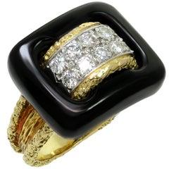 Van Cleef & Arpels Diamond Black Onyx Textured Yellow Gold Ring
