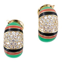 Van Cleef & Arpels Diamond Coral Chrysophase Onyx Earclip Earrings