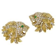 Van Cleef & Arpels Diamond Emerald Lion Head Earrings