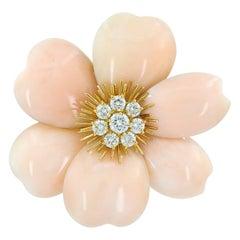 Van Cleef & Arpels Diamond, Pink Coral Rose de Noel Brooch
