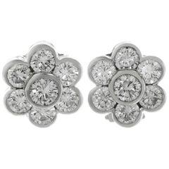 Van Cleef & Arpels Diamond Platinum Flower Earrings