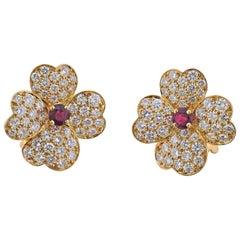 Van Cleef & Arpels Diamond Ruby Gold Flower Earrings