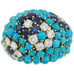Van Cleef & Arpels Diamond, Turquoise, Sapphire Dome Ring