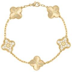 Van Cleef & Arpels Diamond Vintage Alhambra Bracelet 18 Karat Yellow Gold