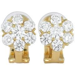 Van Cleef & Arpels Fleurette 18 Karat Yellow Gold 1.50 Carat Diamond Earrings