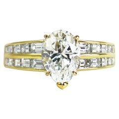 Van Cleef & Arpels GIA Certified 2.00 Carat E VS1 Pear Brilliant Diamond Ring
