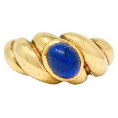Van Cleef & Arpels Lapis Cabochon 18 Karat Gold Twisted Band Ring