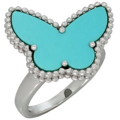 Van Cleef & Arpels Lucky Alhambra Turquoise White Gold Butterfly Ring