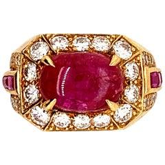 Van Cleef & Arpels Paris 3.63 Carat Ruby Cabochon Diamond Ring