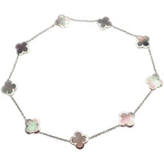 Van Cleef & Arpels Pure Alhambra Nine Motif Grey Mother of Pearl Necklace