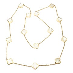 Van Cleef & Arpels Pure Mother of Pearl Alhambra Yellow Gold Necklace