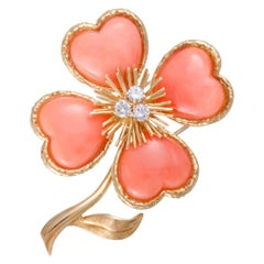 Van Cleef & Arpels Rose de Noël Coral Diamond Yellow Gold Brooch